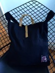 black tote on chair